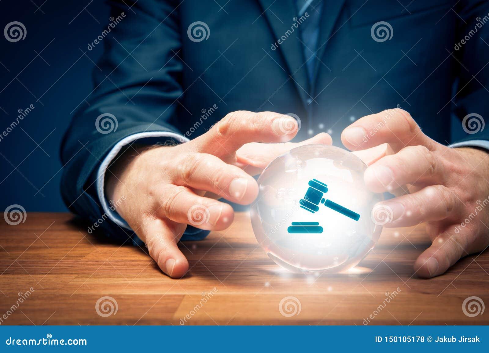 Prawnik lub adwokat przepowiadamy rezultat decyzja sądu