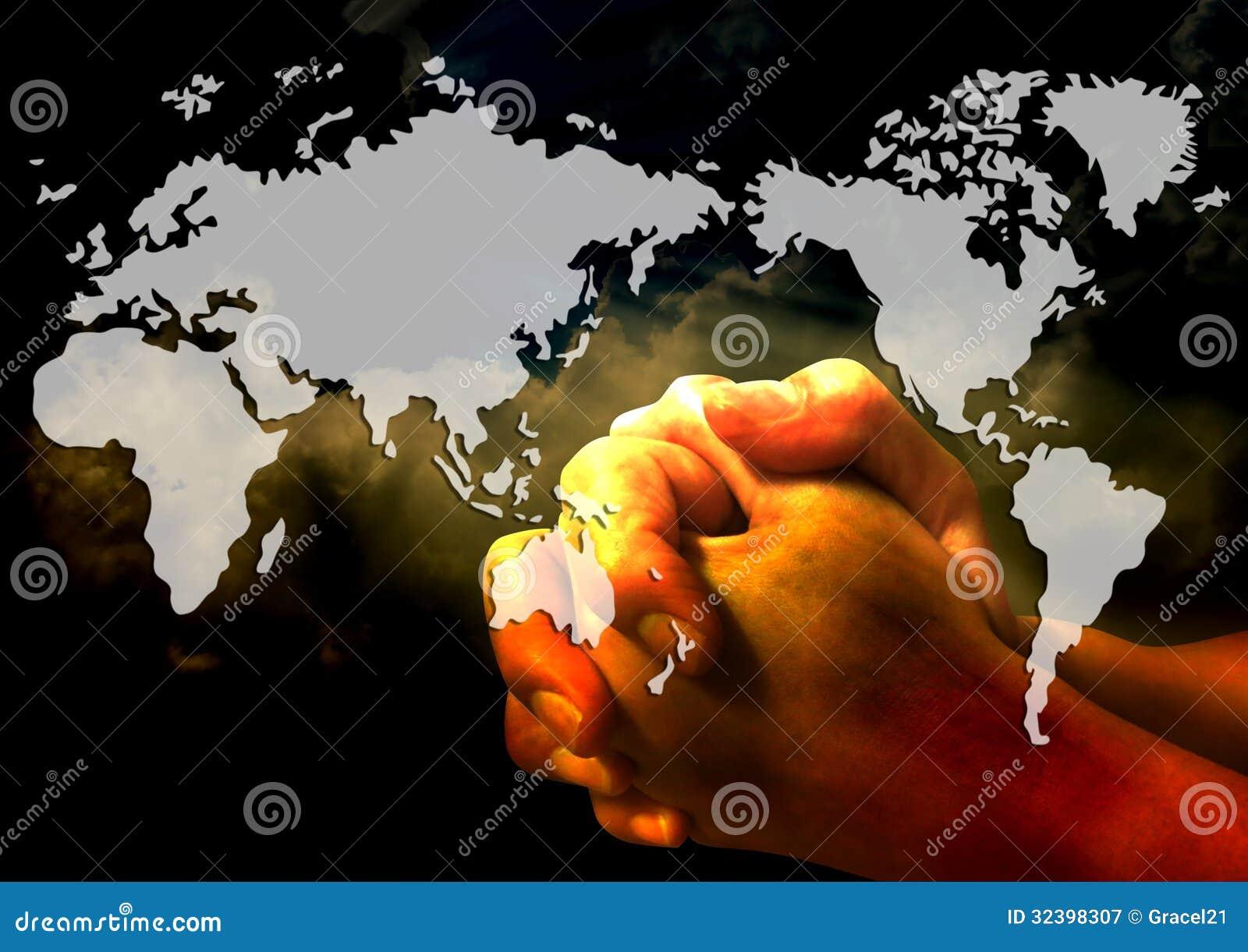 Pray for the world stock illustration. Illustration of crime
