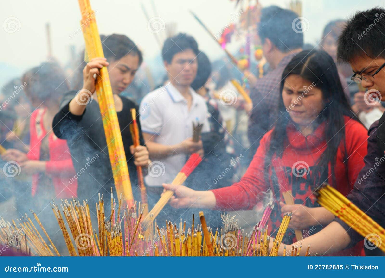 Prayer Burning Incense And Wish Good Luck Editorial Image