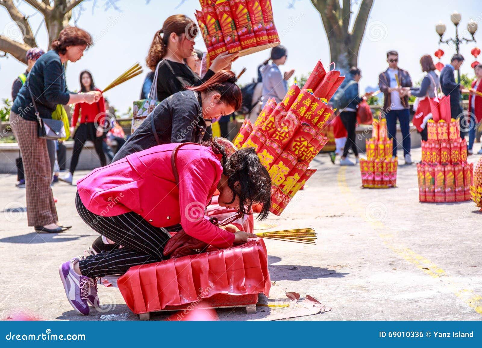 Prayer Burning Incense And Wish Good Luck Editorial Photo