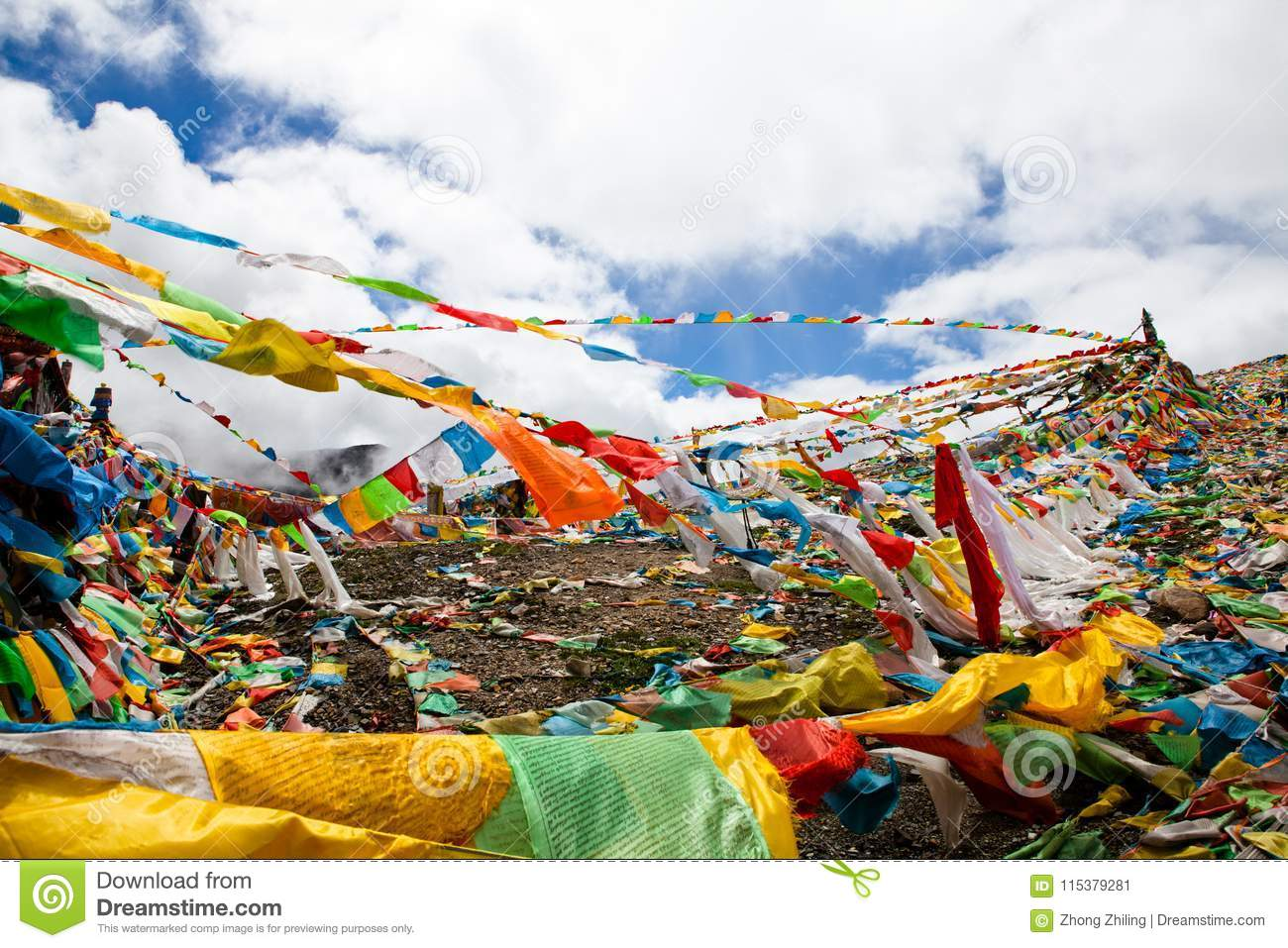 The prayer flags on the moutain on the way