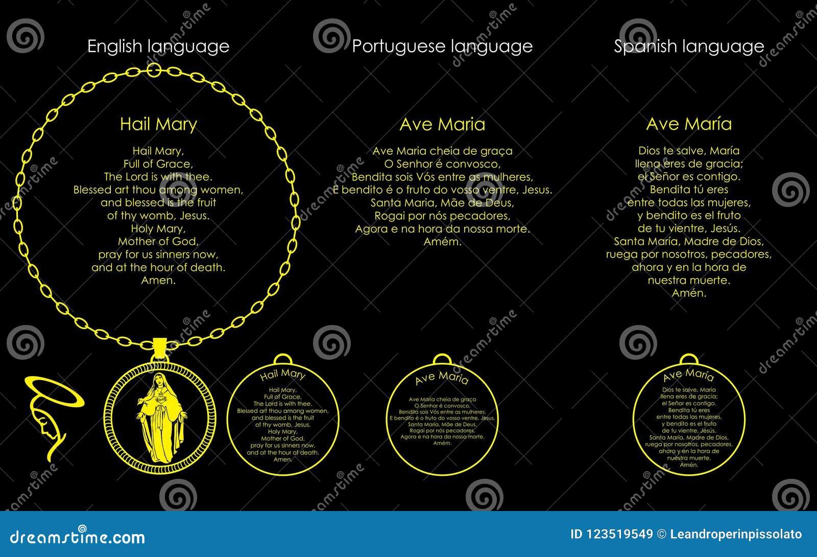 Prayer Hail Mary stock vector  Illustration of amen - 123519549