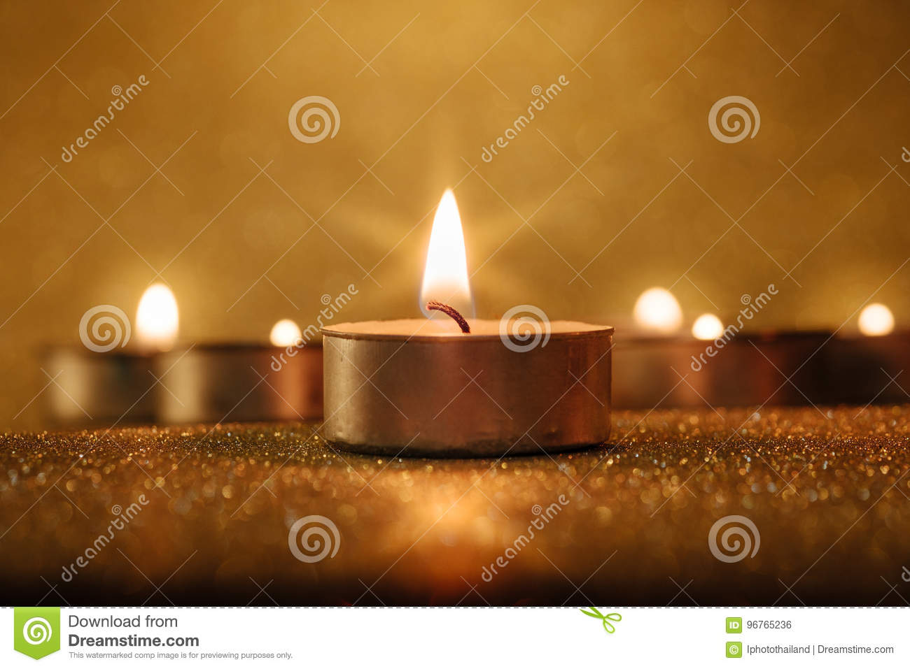 Prayer and hope concept. Retro candle light with lighting effect