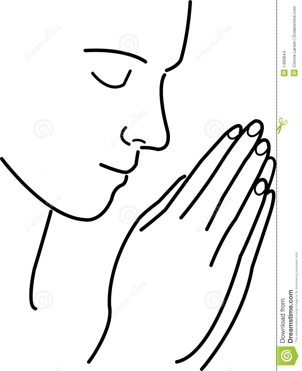 Simple but elegant illustration of a person in prayer, meditation or ...