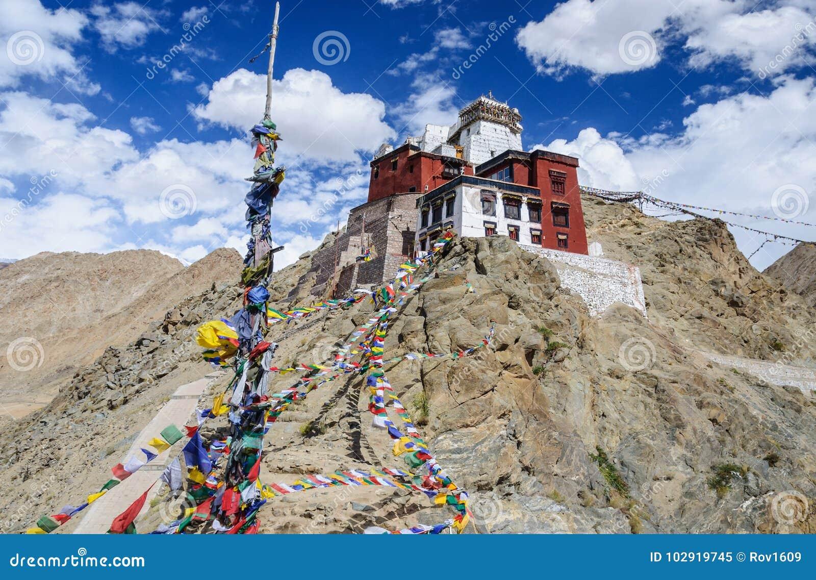 Prayer tibetan flags near the in Leh Palace, Ladakh