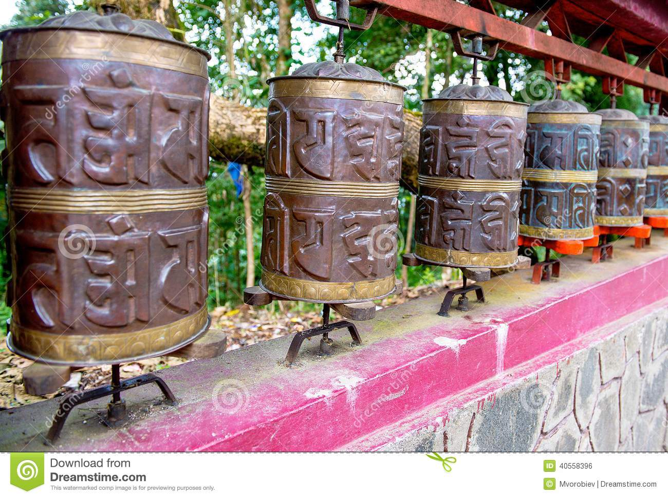 Prayer wheel in Sikkim. The Indian Himalayas