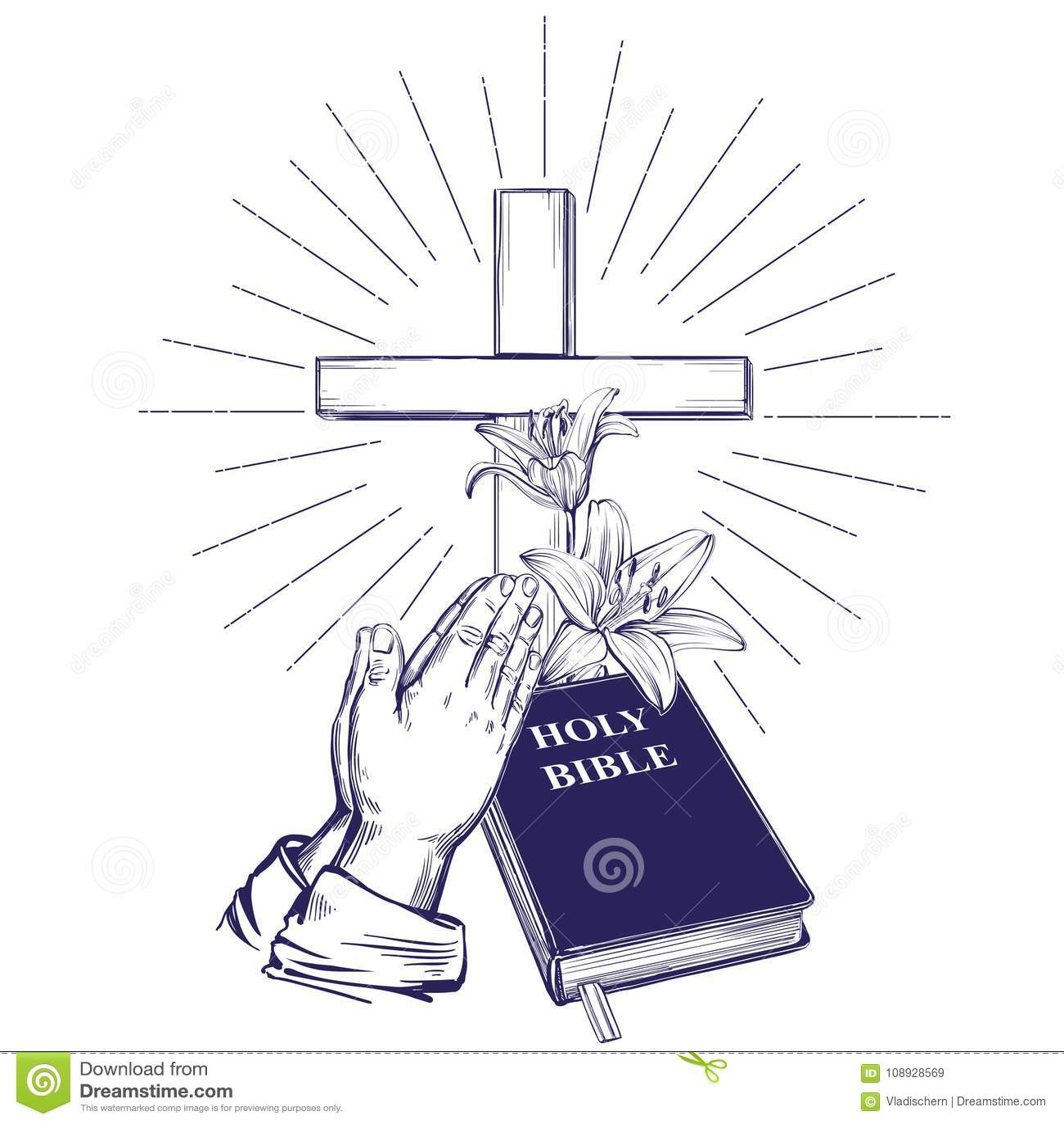 Praying Hands Bible Gospel Crown Of Thorns Wooden Cross Easter