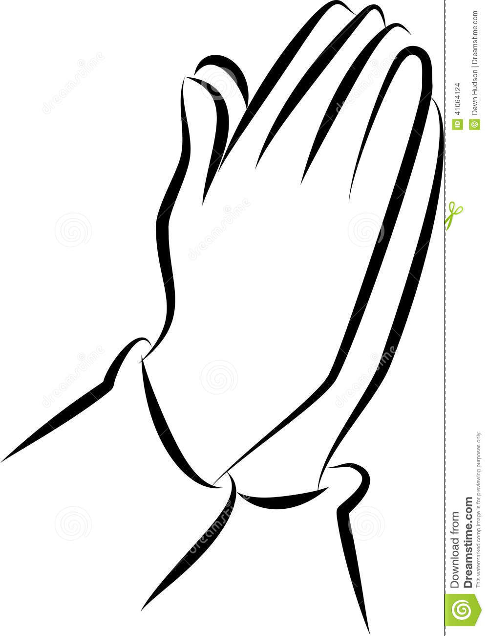 Simple Black And White Line Art : Praying hands clip art stock illustration image