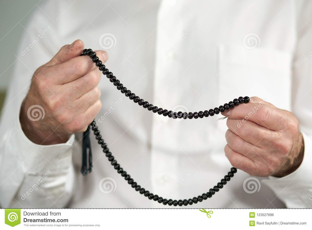 Praying Hands Of An Old Man With Rosary Beads Stock Photo Image Of