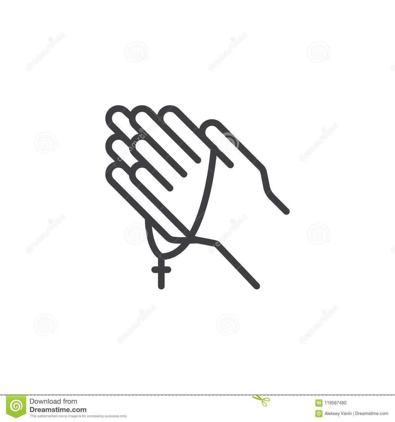 Praying Hands With Rosary Outline Icon Stock Vector Illustration