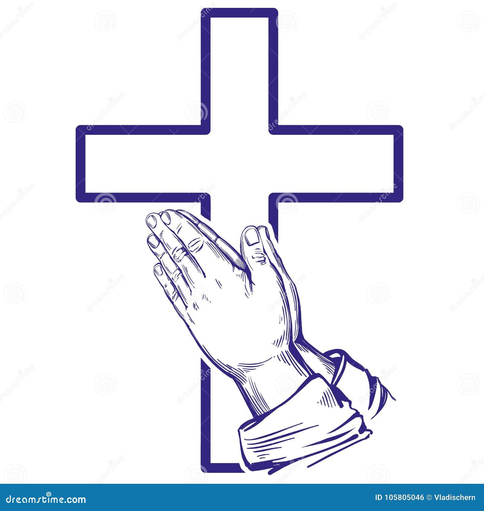 Praying Hands Symbol Of Christianity Hand Drawn Vector