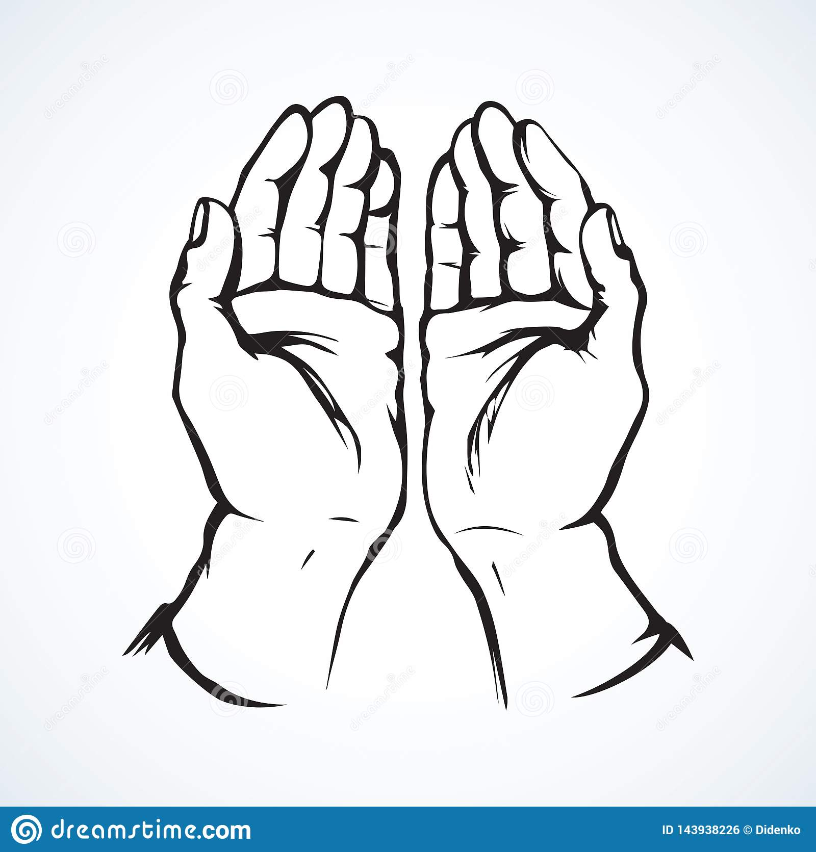 praying hands vector drawing stock vector illustration of graphic female 143938226 https www dreamstime com praying hands vector drawing sin body palm help praise white paper space text lord show care concept line logo pictogram image143938226