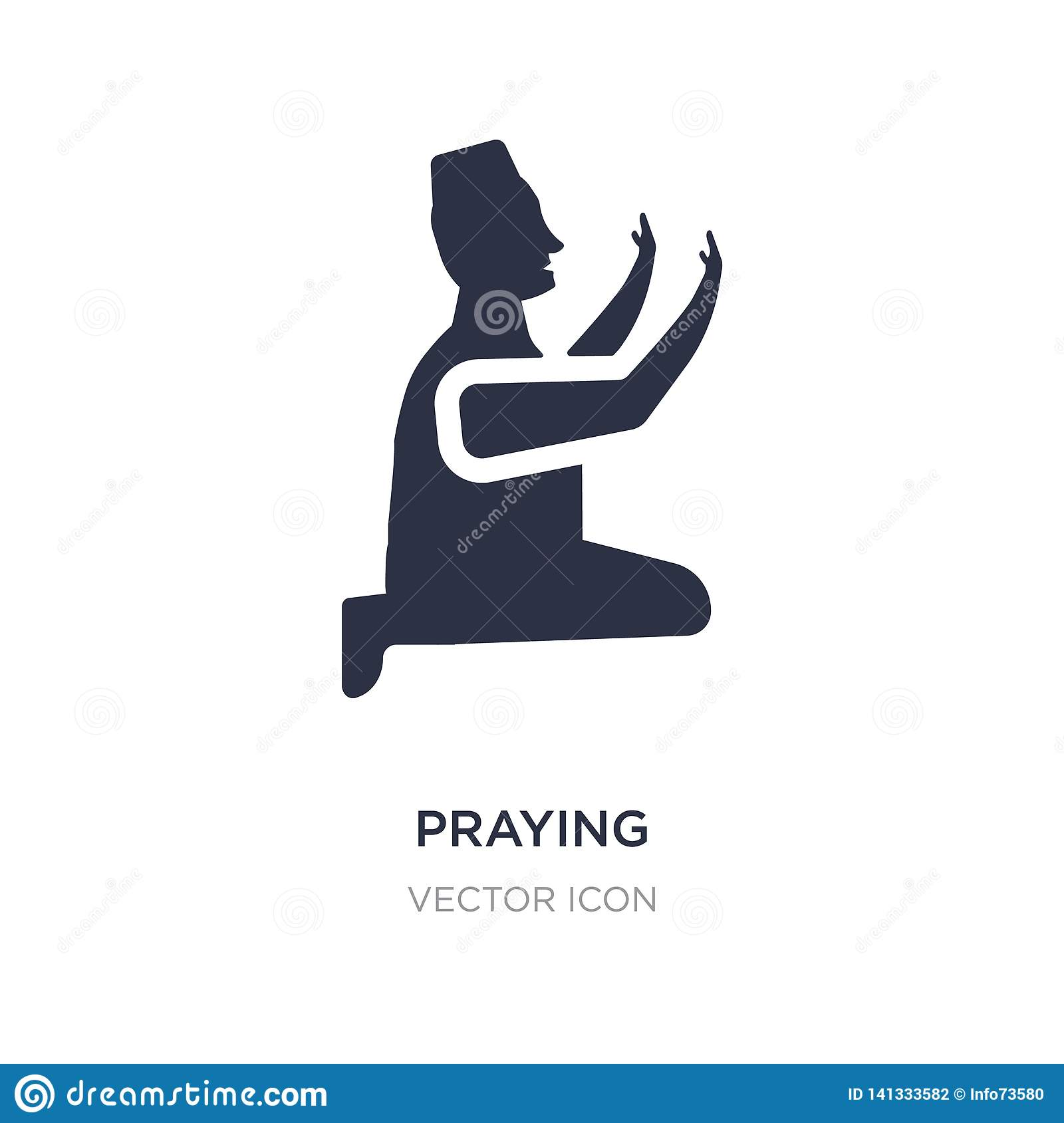 praying icon on white background. Simple element illustration from Charity concept
