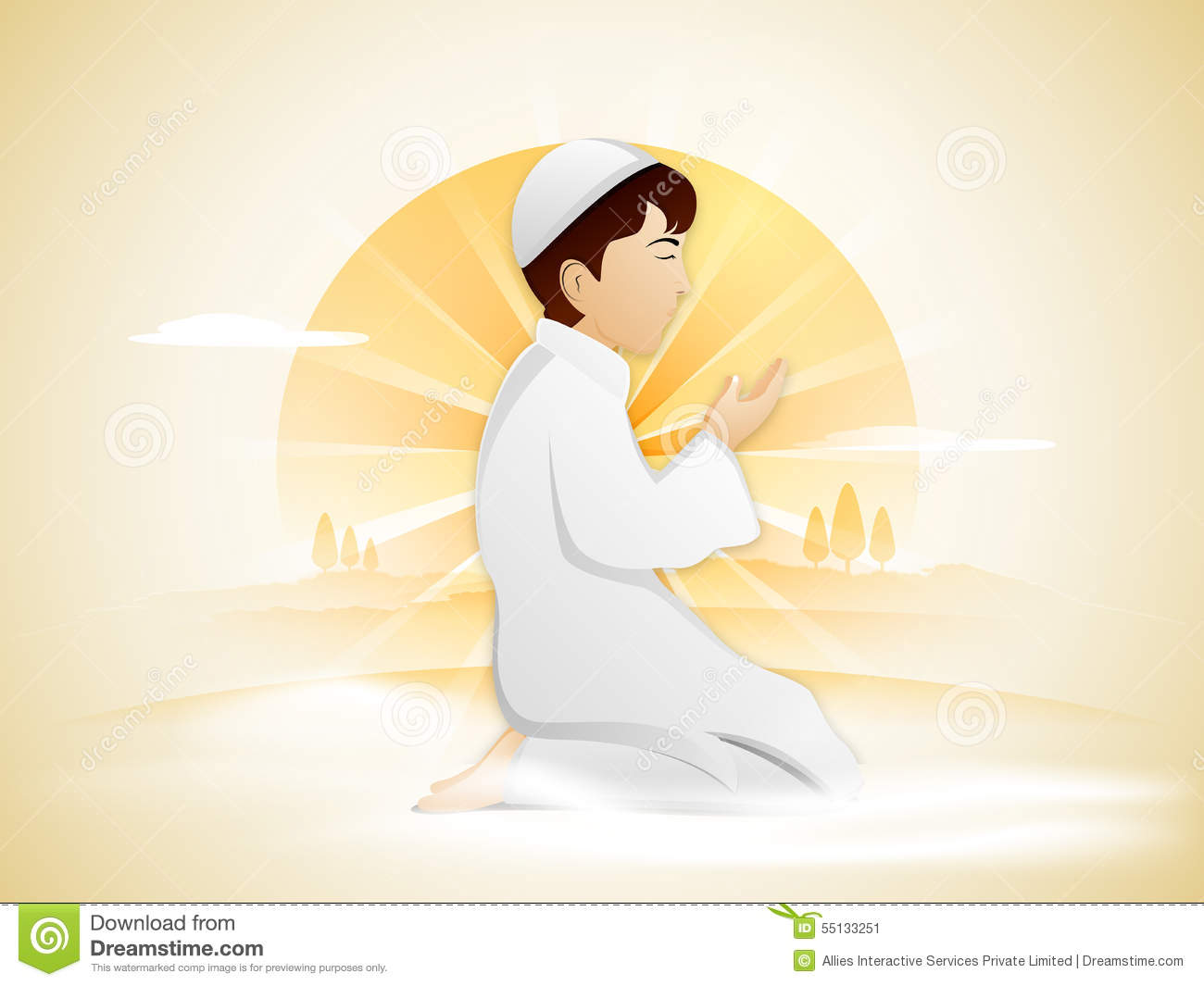 3ee31f899e16 Praying Muslim Boy For Holy Month