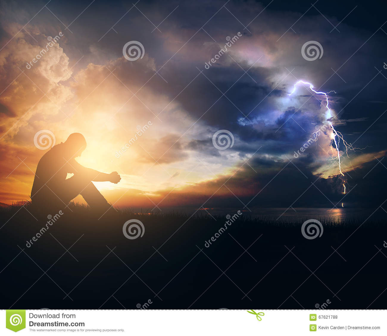 Silhouette of the holy cross on background of storm clouds stock - Man Storm Sunrise Silhouette Sunset Christian Evening Clouds