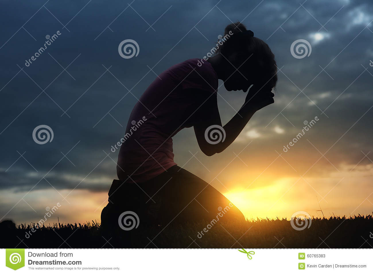 Praying At Sunset Stock Photo - Image: 60765383