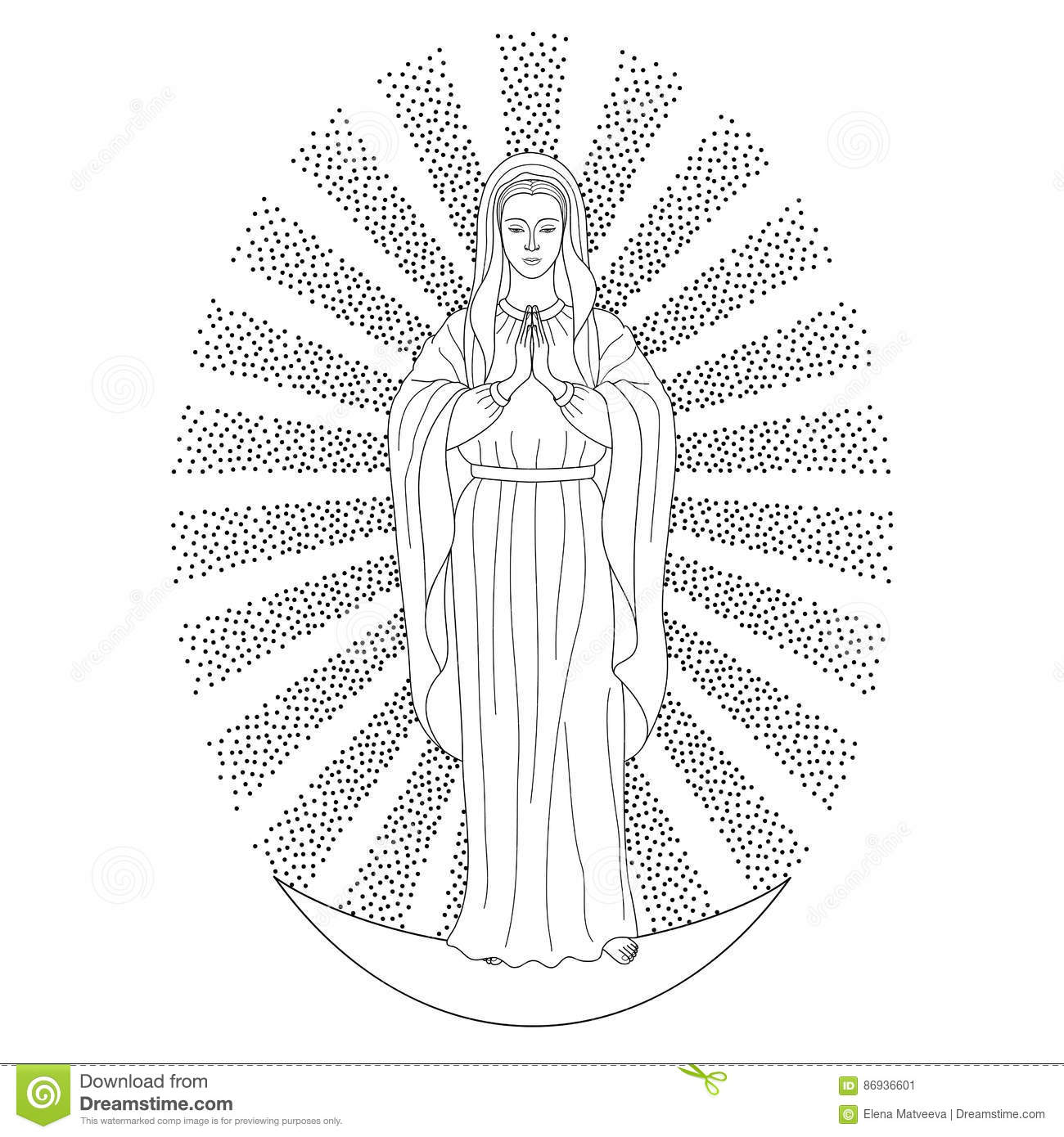 Praying Virgin Mary In Rays Of Sun Standing On Moon Outline Cartoon White Background Black And Coloring Page