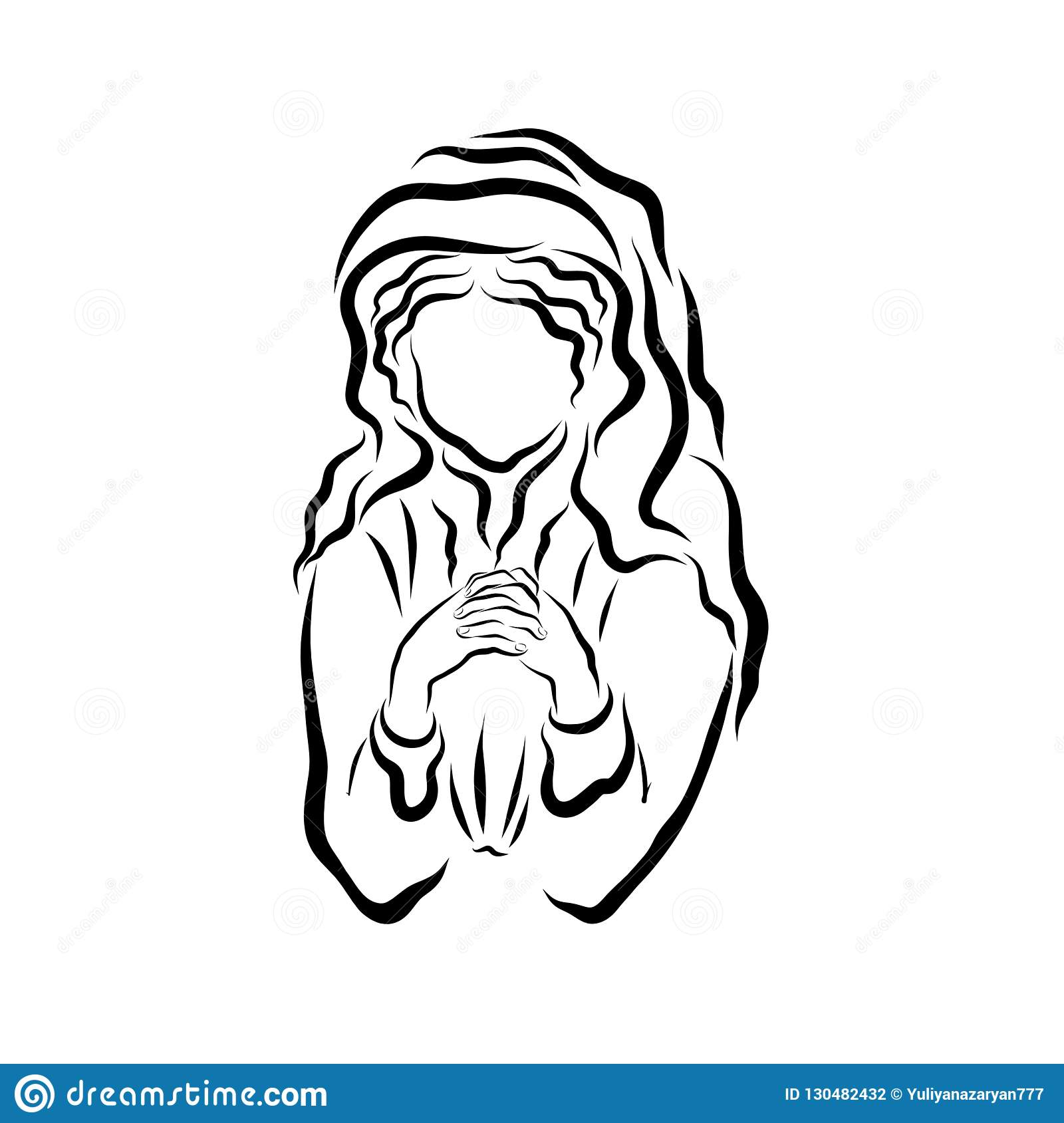 Praying Woman With A Headscarf Or The Virgin Mary Stock Illustration
