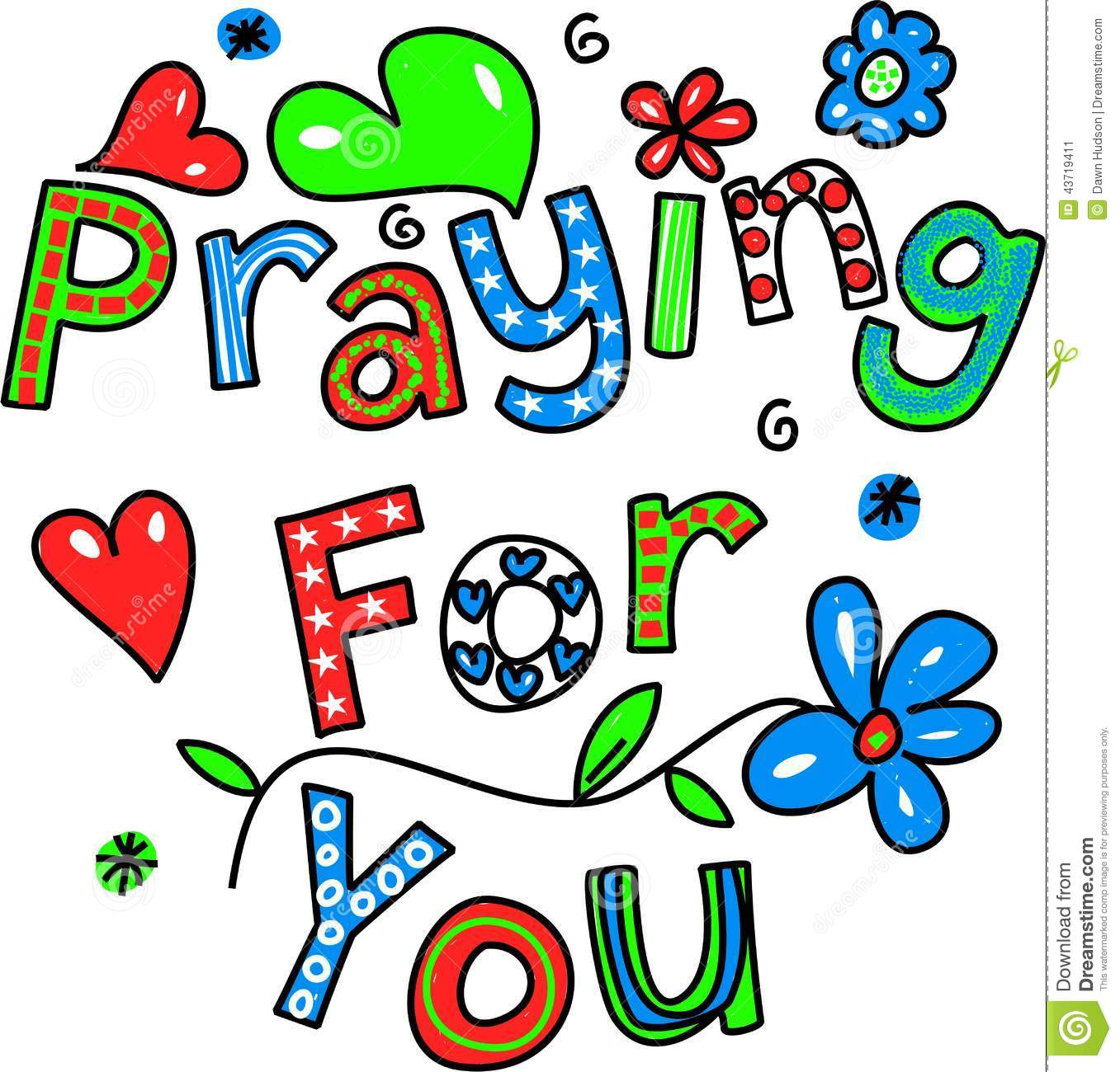 Praying For You Cartoon Text Expression Stock Illustration