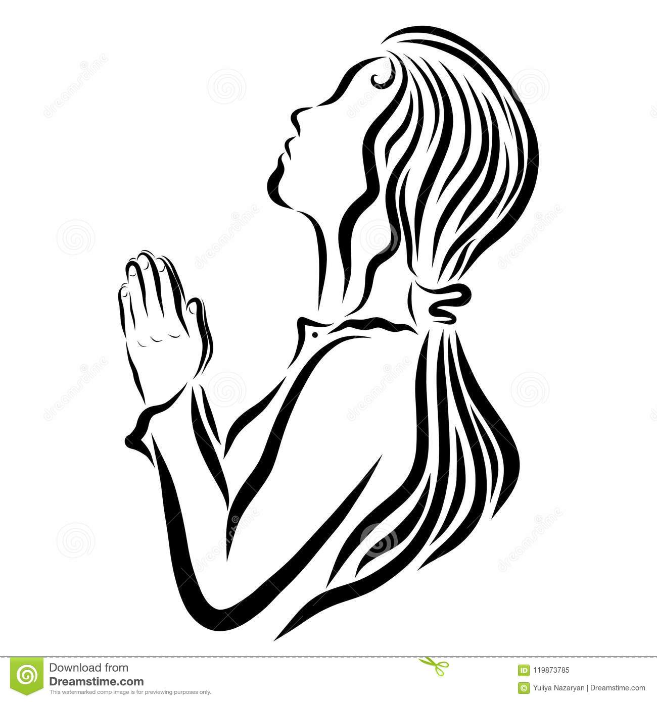 Praying Young Woman Faith And Prayer Religion Stock Illustration