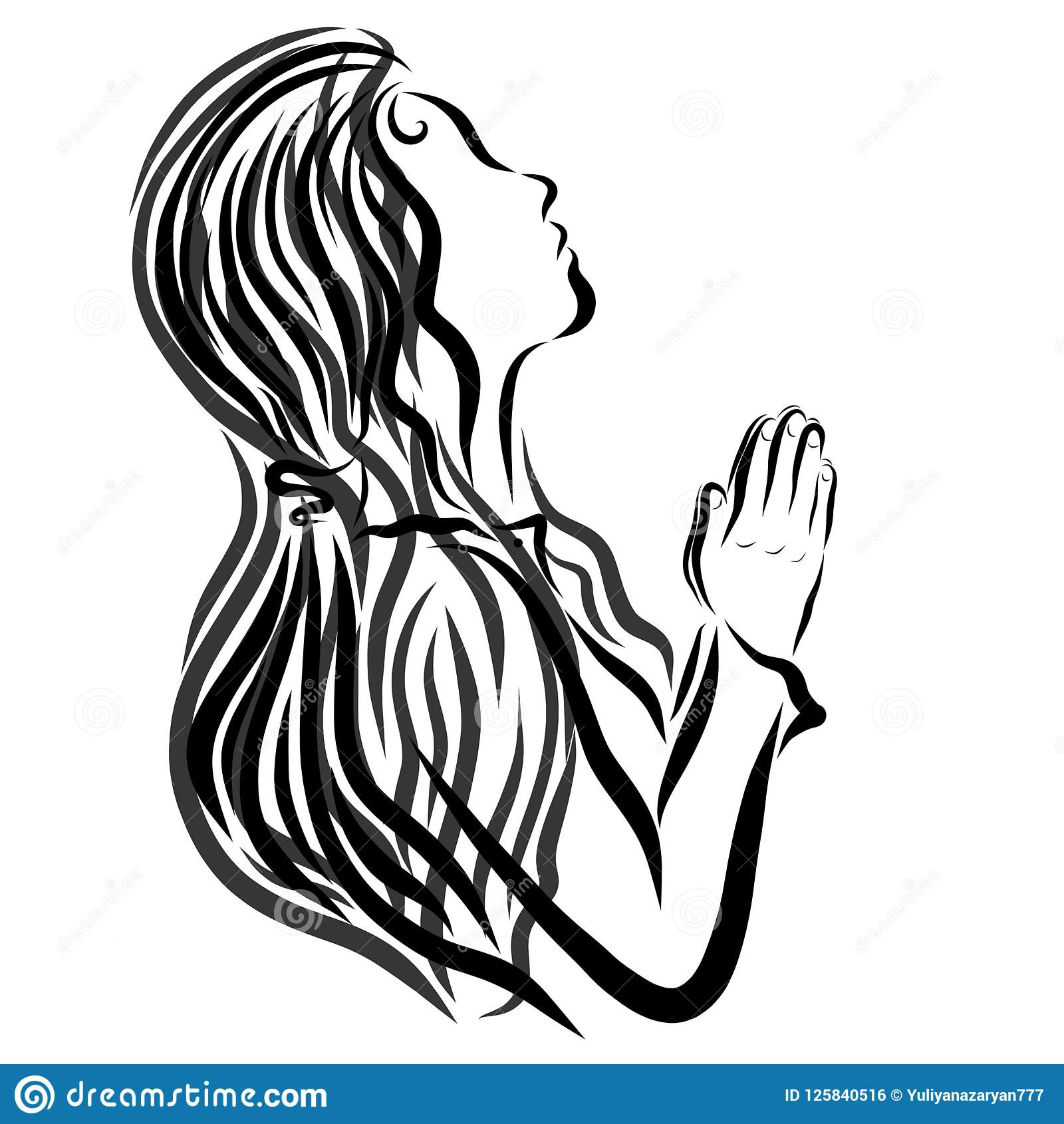 Praying Young Woman With Headscarf Black Lines Stock Illustration