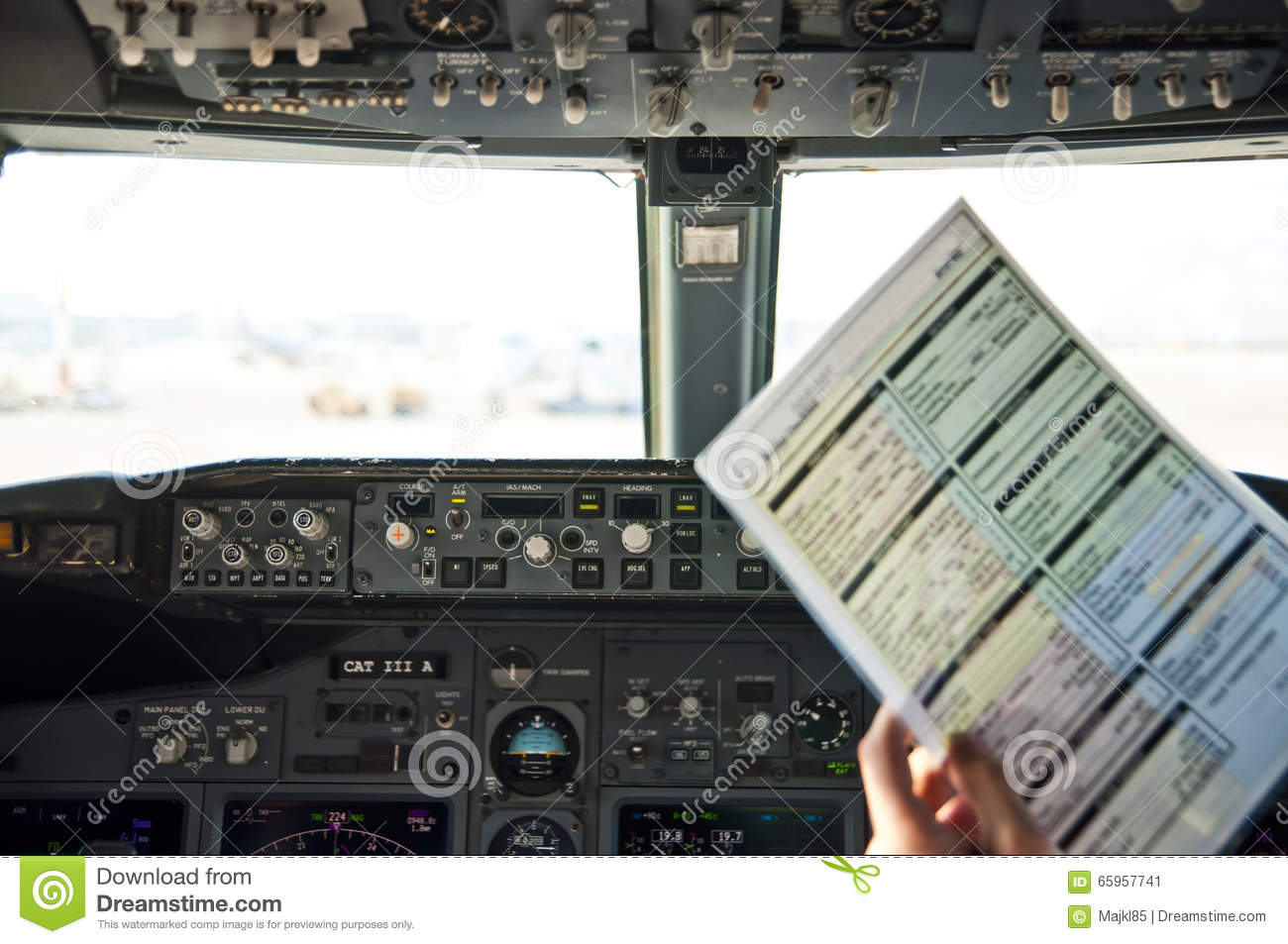 Pre-flight Checklist At Flight Deck Stock Image - Image of