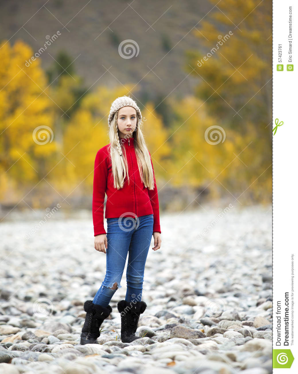 Pre-Teen Girl Alone Outdoors Stock Photo - Image 57423761-7984