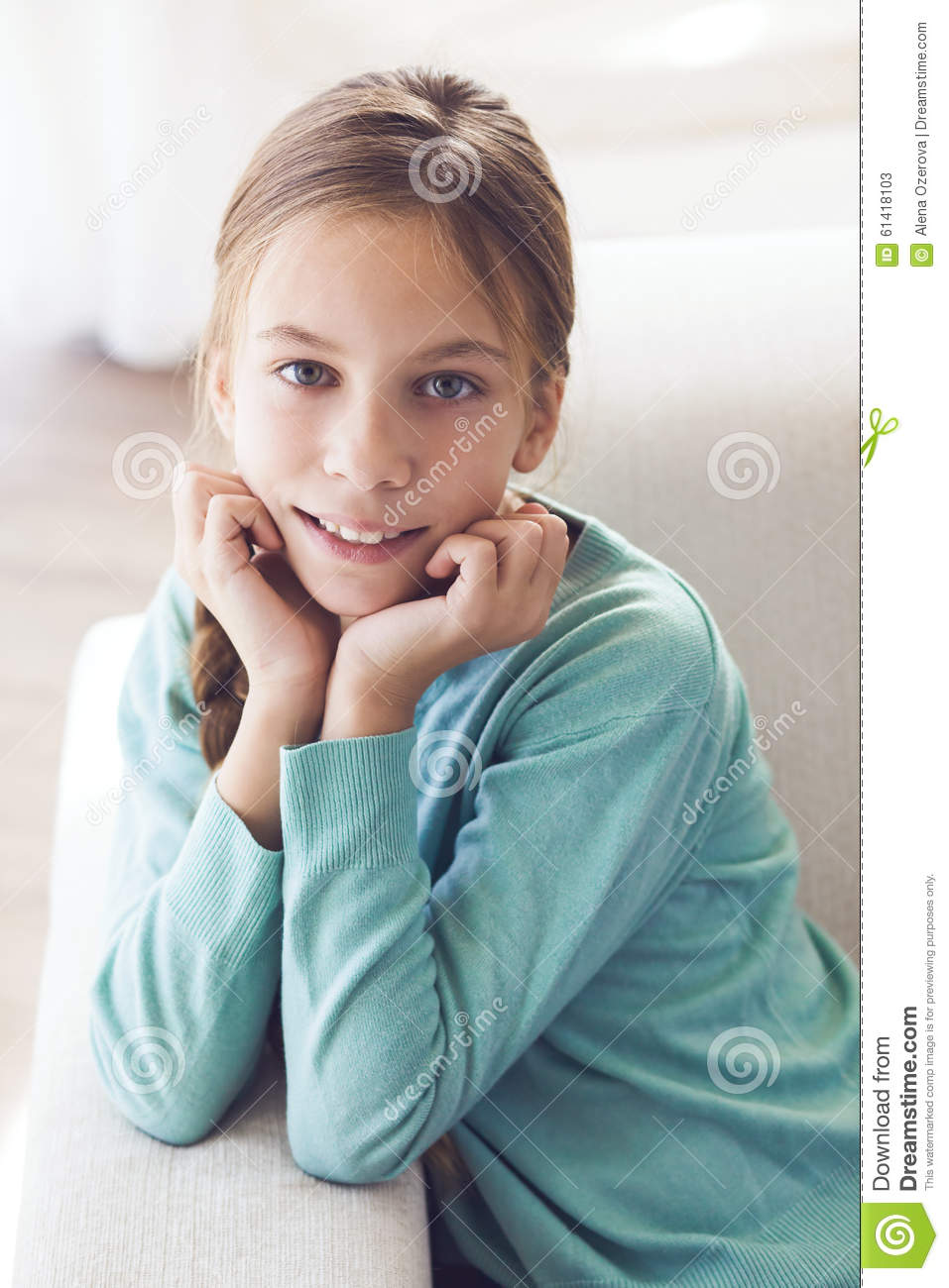 Pre teen girl stock image image of leisure chair face 61418103 - Image of teen ...