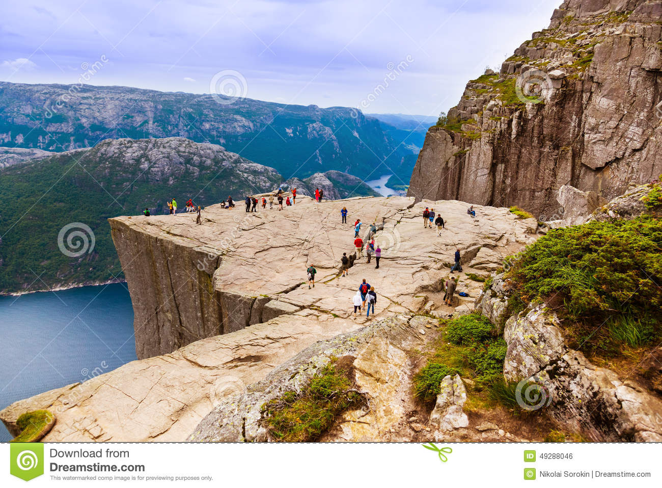 Preachers Pulpit Rock In Fjord Lysefjord - Norway Editorial Photo - Image: 49288046