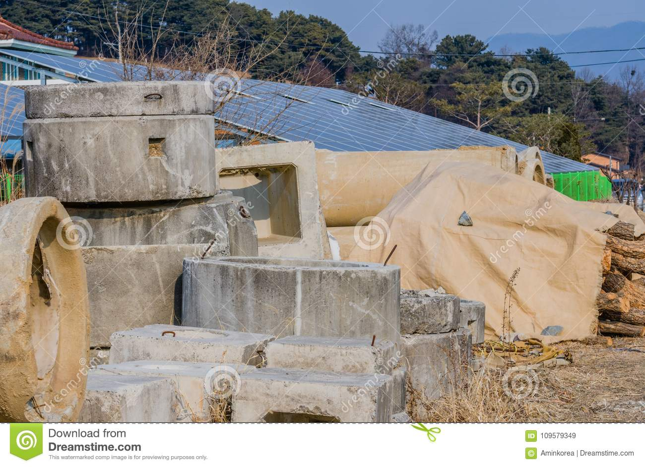 Precast Concrete Culvert Sections Stock Image - Image of blue
