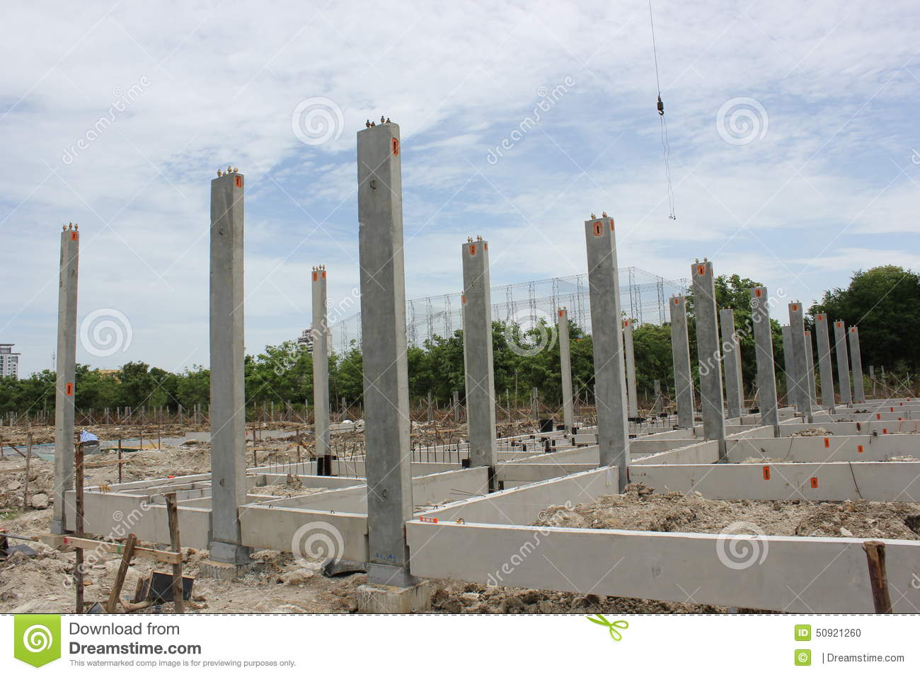 Precast concrete foundation in thailand stock photo for Concrete pilings for house