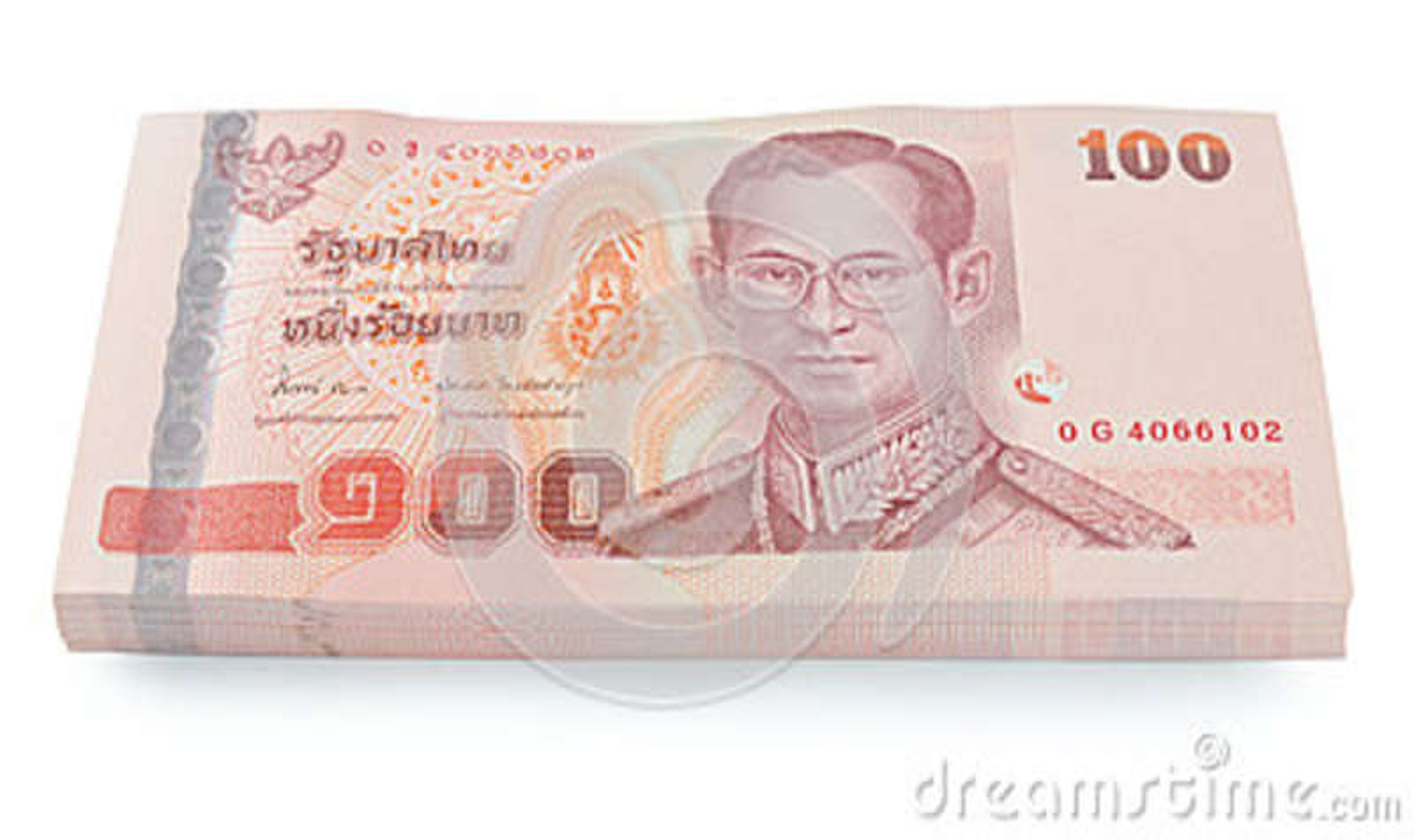 Precio de los billetes de banco de Tailandia de ciento aislado en el backgr blanco