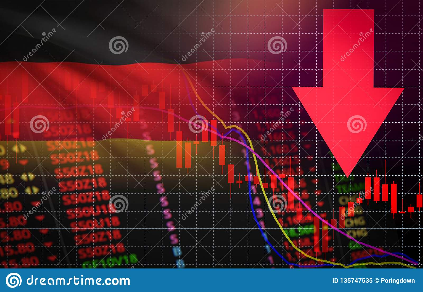 Precio de mercado rojo de la crisis del mercado de bolsa de acción de Alemania abajo del negocio de la caída de la carta y descen