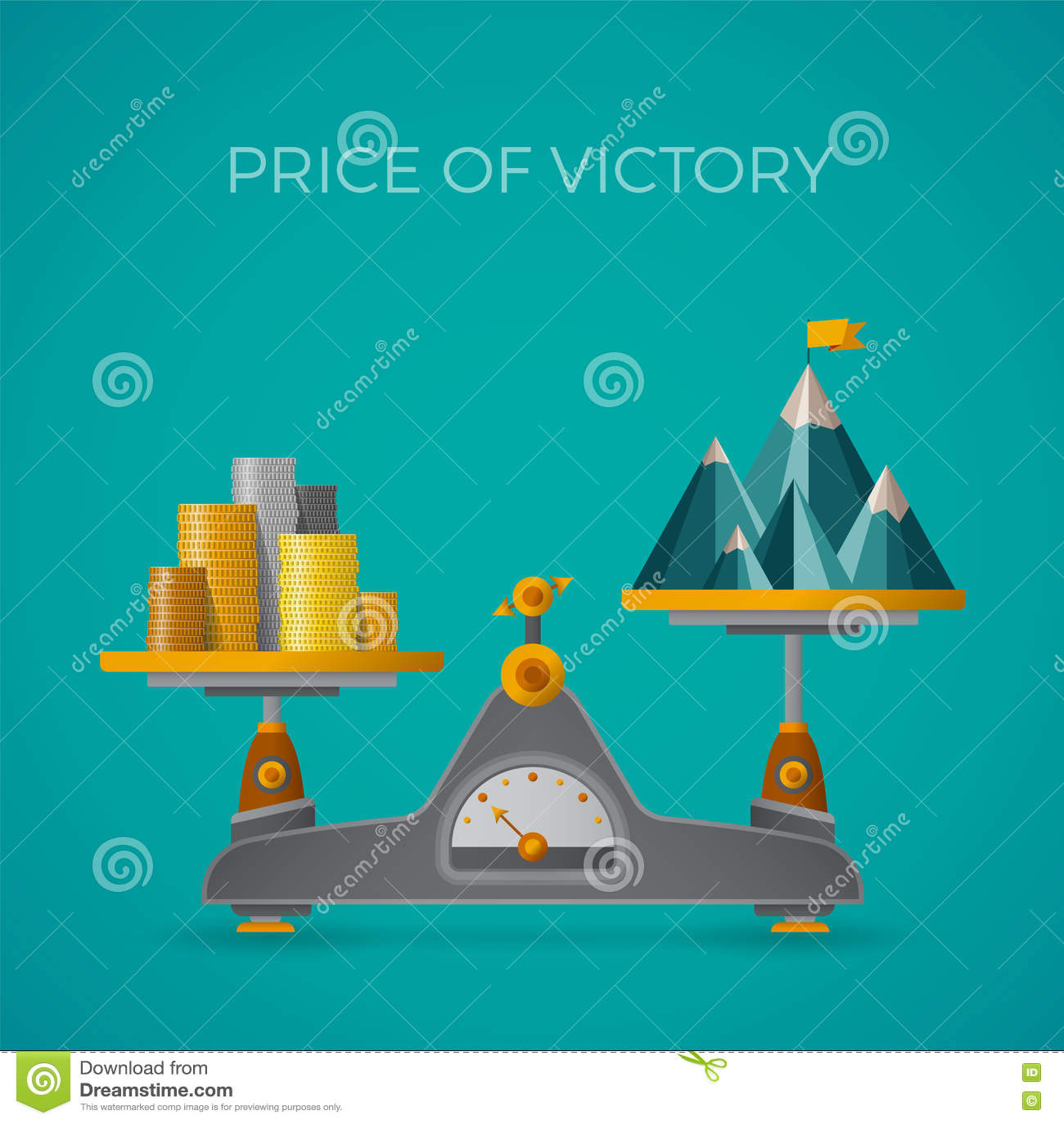 Precio del concepto del vector de la victoria en estilo plano con el pico de montaña