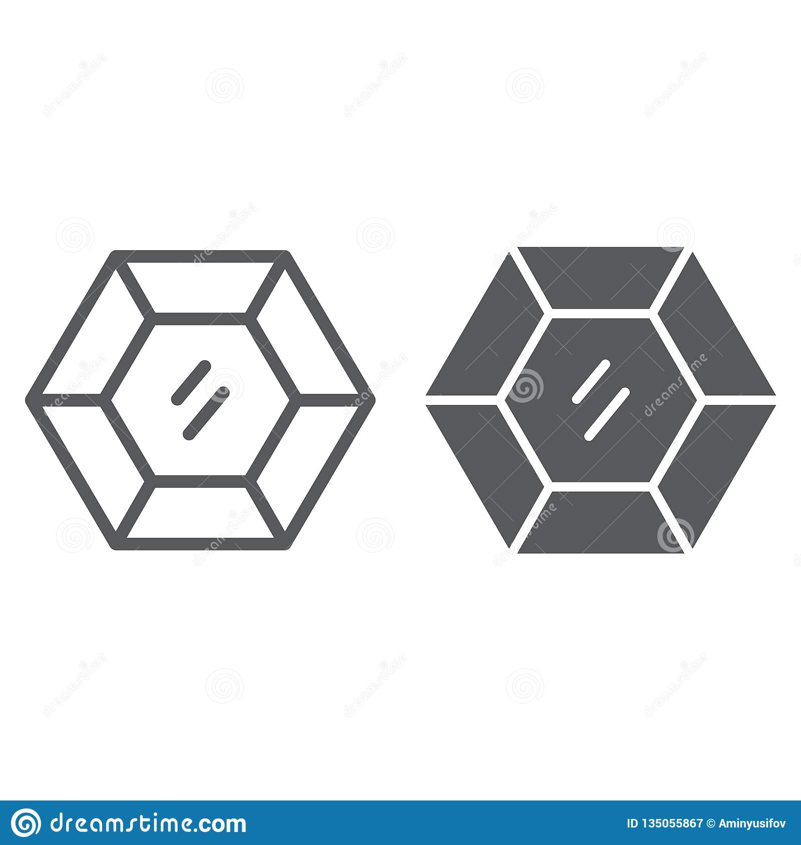 Precious gemstone line and glyph icon, jewellery and diamond, brilliant sign, vector graphics, a linear pattern on a