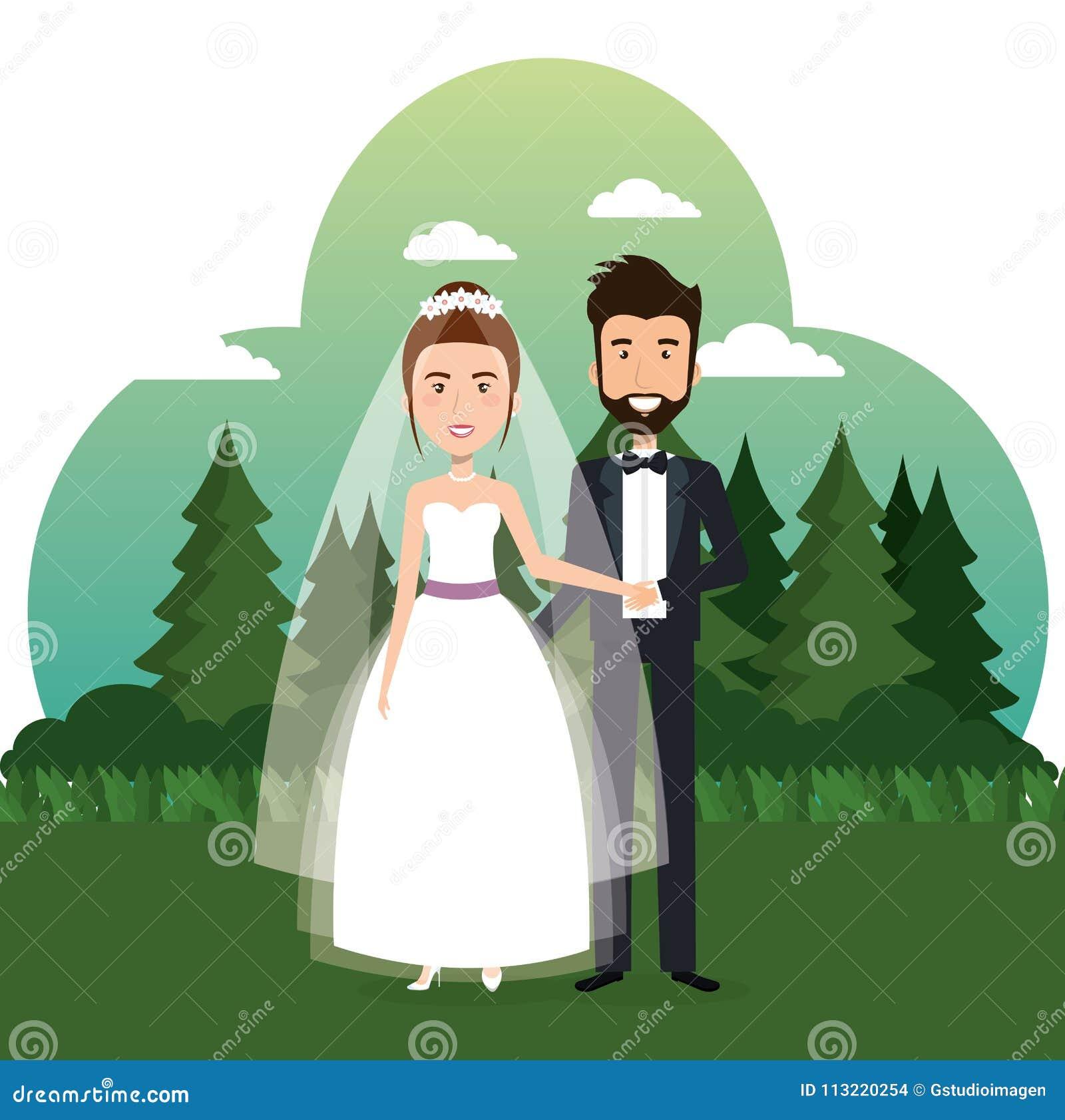 Precis gift par i fältet