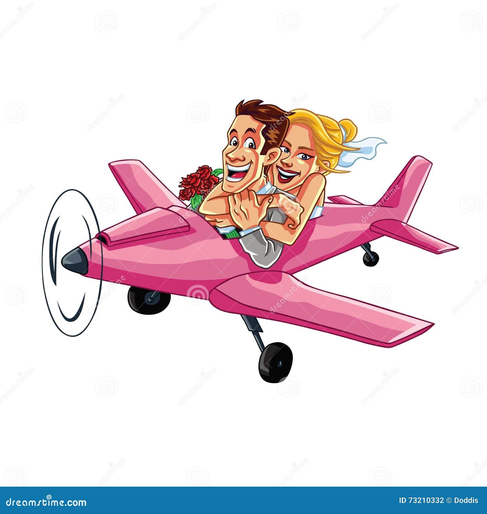 Precis gift par som rider en rosa nivå på en vektor för bröllopsresaturtecknad film
