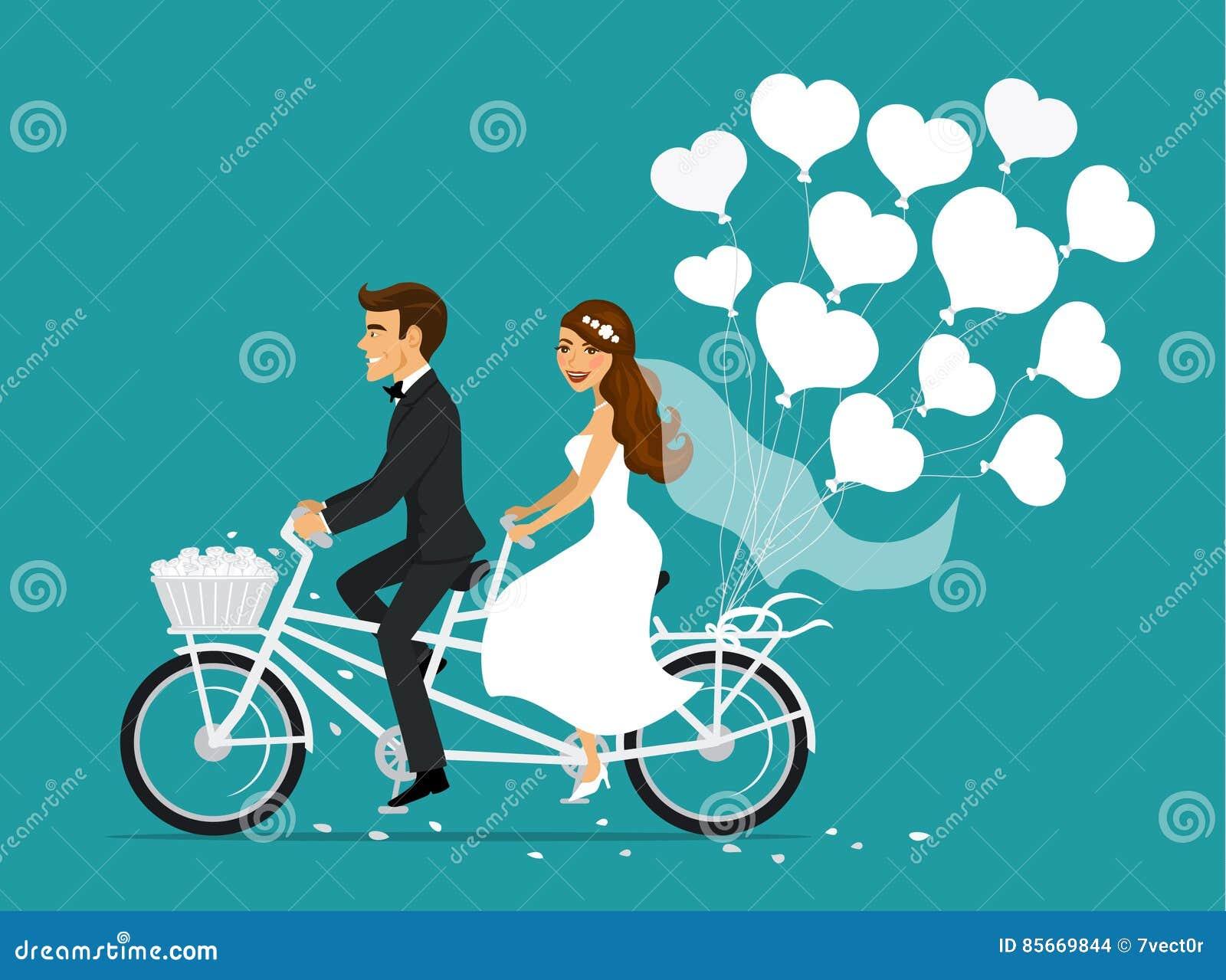 Precis tandem cykel för gift parbrud- och brudgumridning