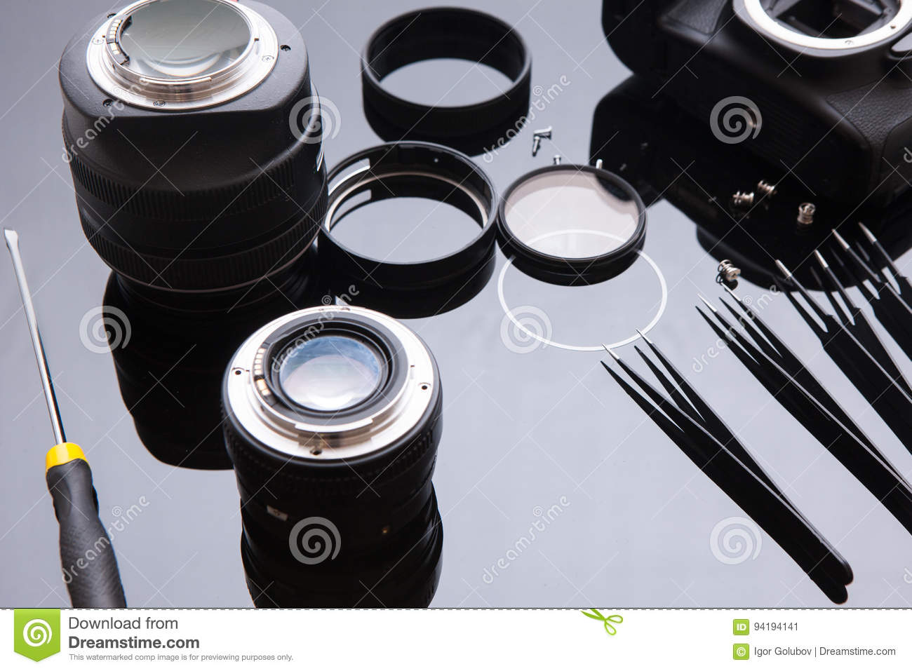 Precision Optic Photo Lens Service, Adjust, Align Stock Image