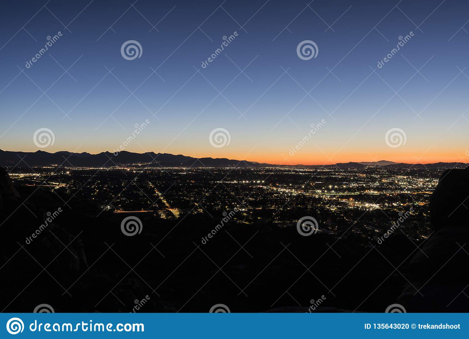 Predawn Los Angeles California San Fernando Valley Stock Photo ...