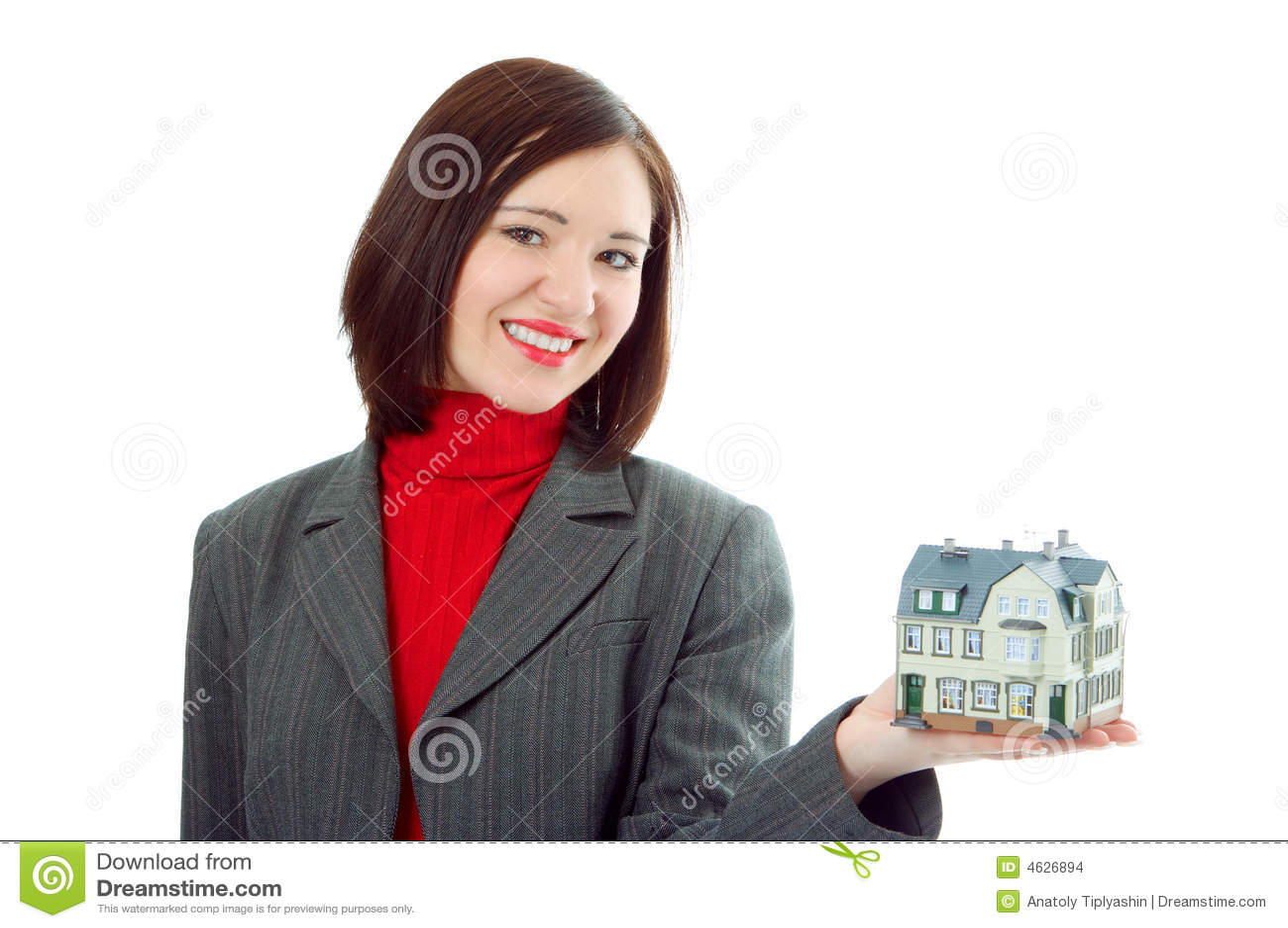 Preensão da mulher pouca casa na mão