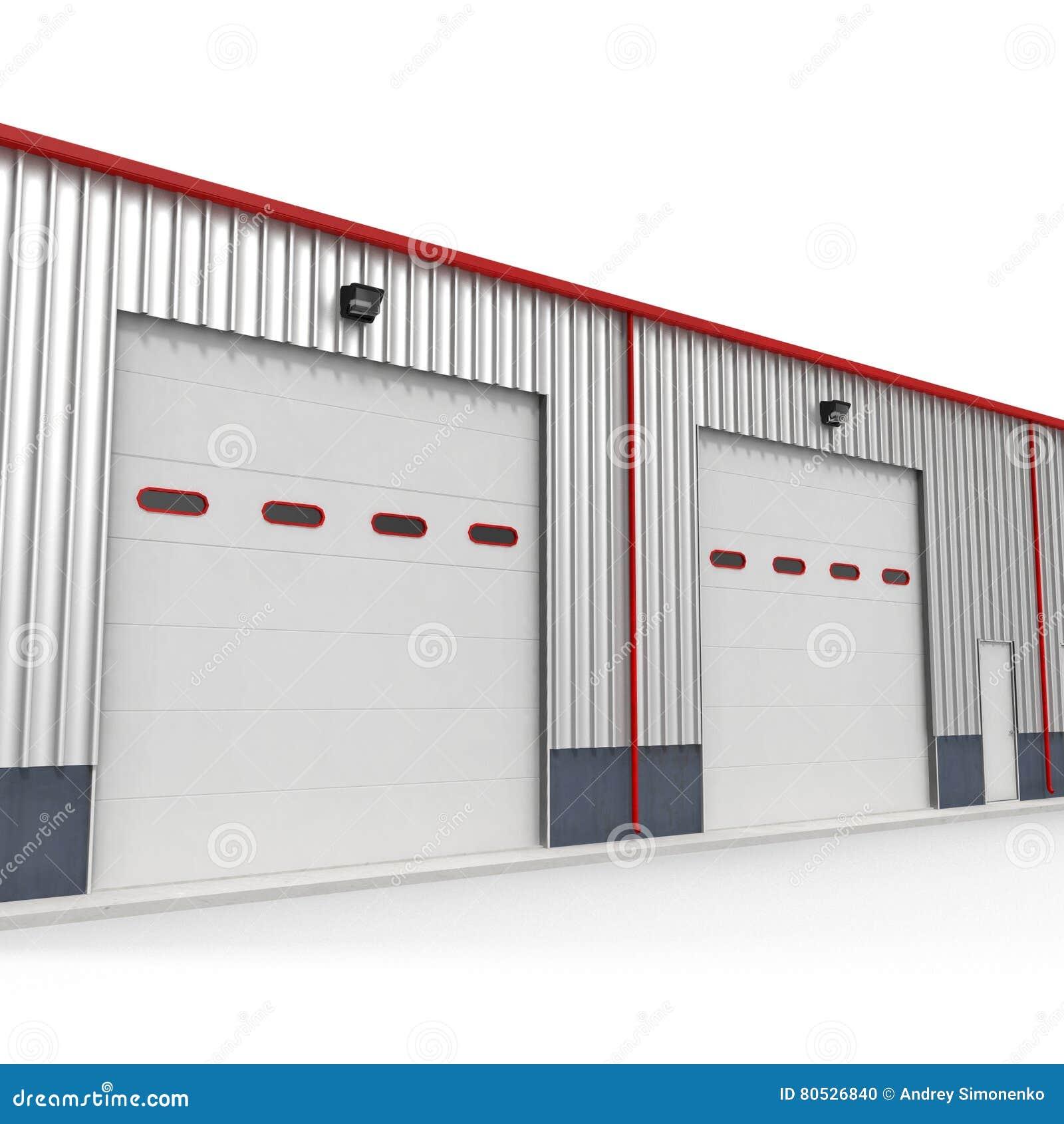 Prefab steel building garage door on white 3d illustration stock prefab steel building garage door on white 3d illustration rubansaba