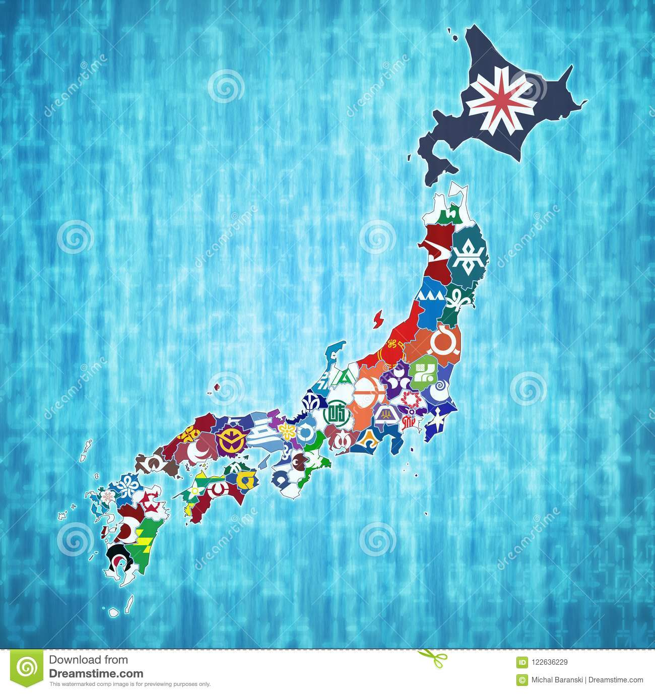 Map Of Japan With Prefectures.Prefectures Of Japan On Administration Map Stock Illustration