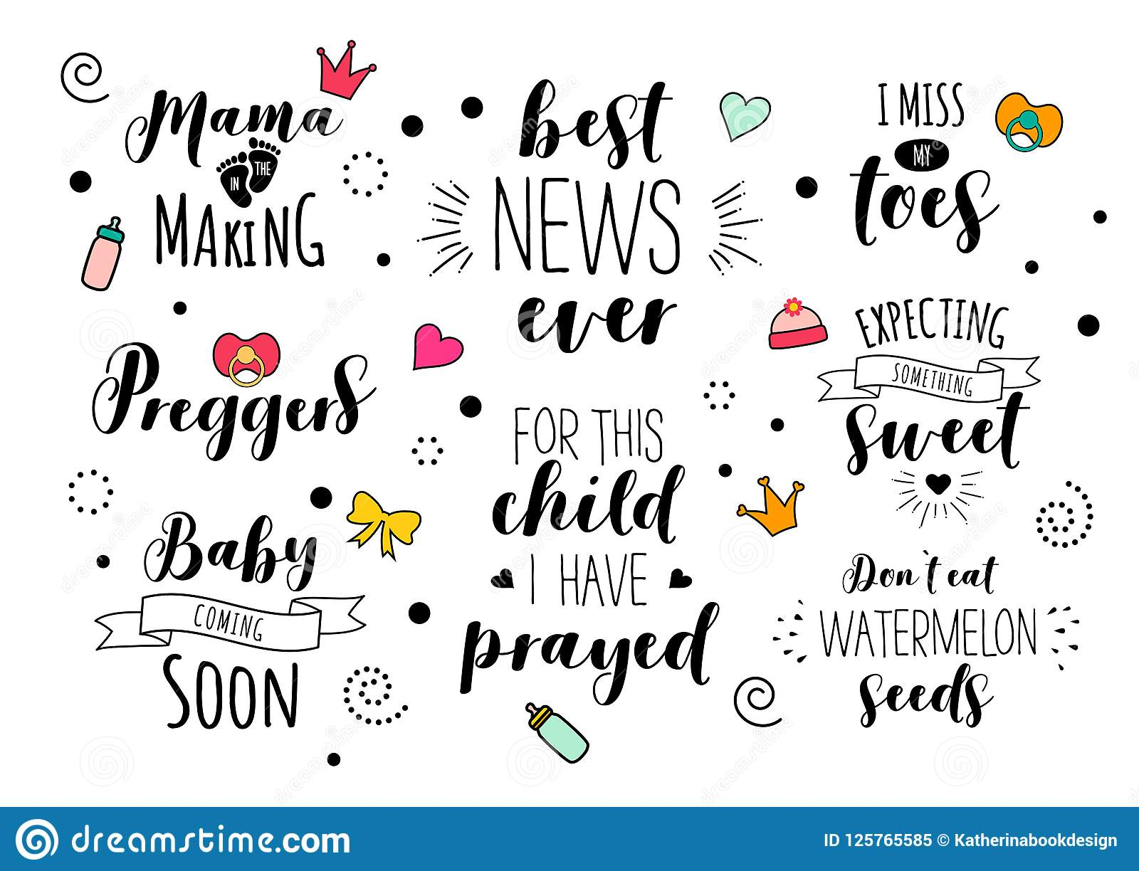 Pregnancy Mama Mother Pregnant Quote Lettering Set Stock Vector Illustration Of Brush Motherhood 125765585