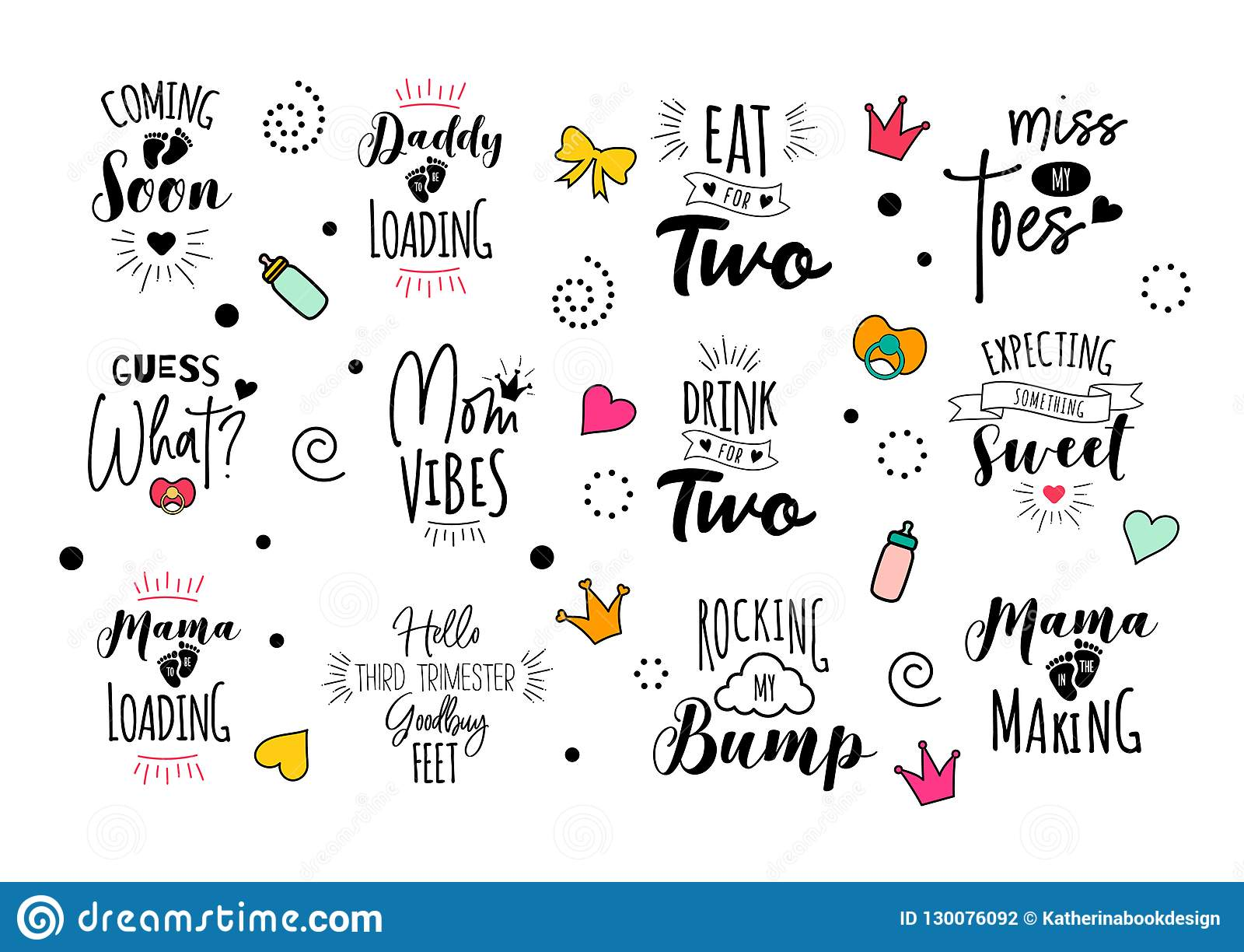 6463886fb9493 Pregnancy mama mother quote set. Vector print design for pregnant woman.  Motherhood illustration. Cute lettering with doodles. Calligraphy for t- shirt. Baby ...