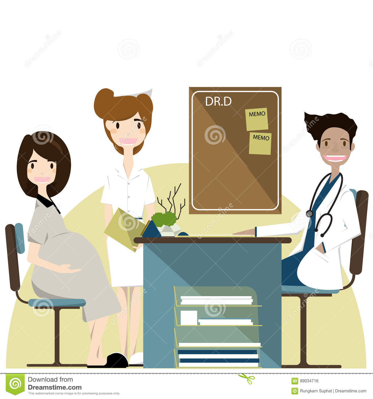 Pregnancy Woman Visiting Doctor In Clinic, Expectant Parents,vector  Illustration Stock Vector - Illustration of female, explaining: 89034716