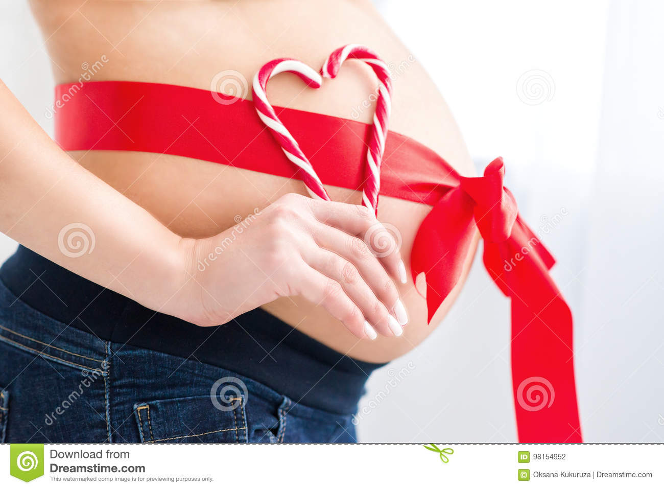 Pregnant Belly With Red Heart Stock Photo - Image of ...