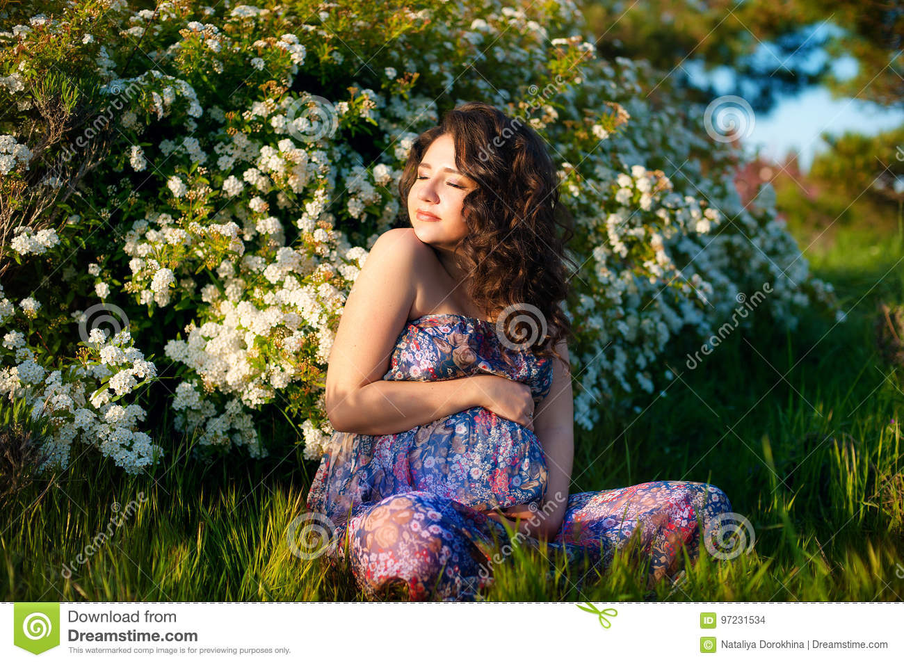 695d997c962 Pregnant Caucasian Woman Takes Rest Outdoor Stock Photo - Image of ...