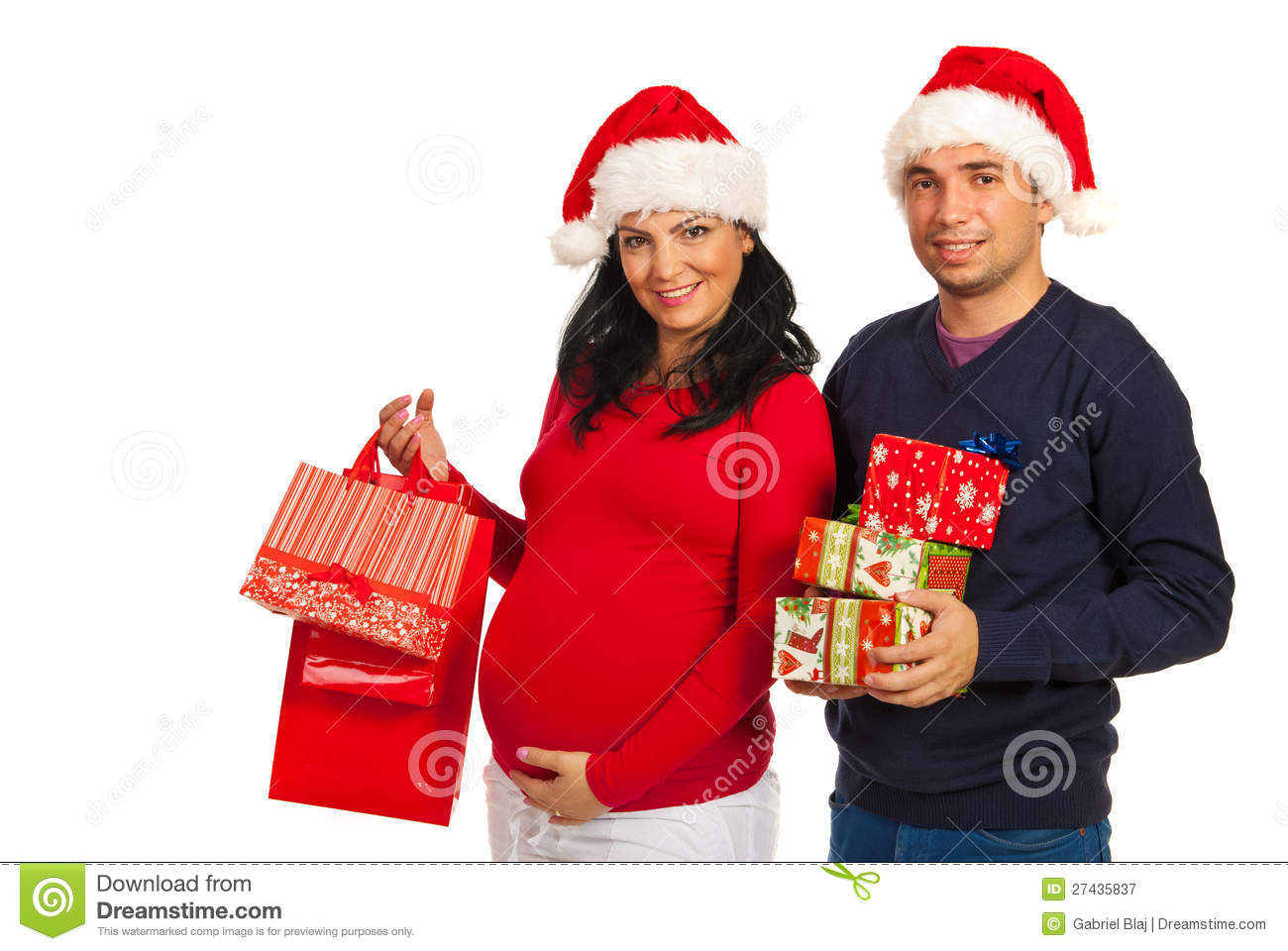 Pregnant Couple Holding Christmas Gifts Stock Image - Image of ...