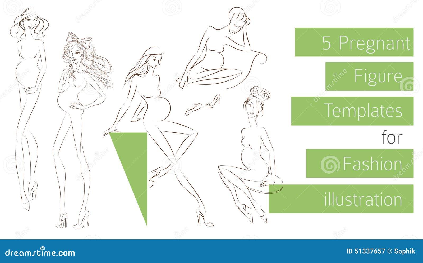 Pregnant Figure Templates For Fashion Illustration Stock ...